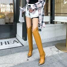 <b>Women Europe</b> Metal Ponty Toe <b>Over Knee</b> High <b>Boots</b> High Heel ...