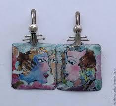 Украшение из серебра и эмали <b>серебряные серьги с эмалью</b> ...