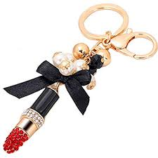 Lipstick with Butterfly Knot Tassle Makeup Keychain ... - Amazon.com