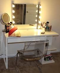 rectangle solid wood make up table in white finish with square mirror and 10 lights bulb charming makeup table mirror