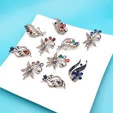 <b>CINDY XIANG</b> Crystal Flower Brooches For Women Black <b>Color</b> ...