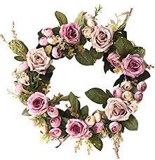 MYGYSJK 35cm <b>Flower</b> Rose <b>Merry Christmas Garland Wreath</b> ...