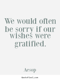 Aesop poster quotes - We would often be sorry if our wishes were ... via Relatably.com