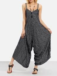 <b>sexy v</b>-<b>neck striped</b> jumpsuit at Banggood