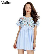 Vadim <b>Women Sweet Lace</b> Up Floral <b>Embroidery</b> Short Sleeve ...