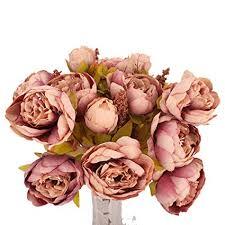 13 Heads Artificial Flowers 1 Peony Bouquet Fall Silk ... - Amazon.com