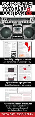 pop music song lyrics and classic poetry compare contrast poems use this two day poetry lesson to help your students connect modern song lyrics to