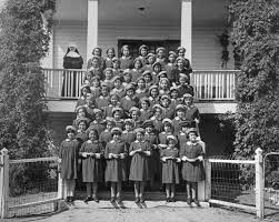 residential schools awful assimilation forced on little natives st anthony s n residential school female students and a nun onion lake