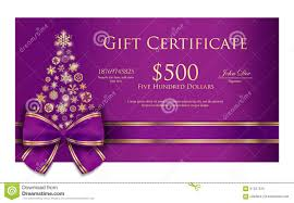 luxury christmas certificate christmas tree c stock vector exclusive christmas gift certificate purple r royalty stock image
