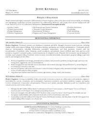 example construction project engineer resume   free sample