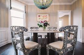 black and white dining table set:  table with bone inlay dining chairs view full size
