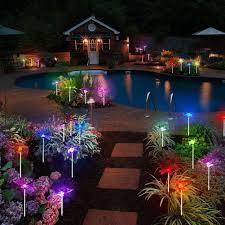 <b>8 LED Solar Lawn</b> Light Decor Stainless Steel Lawn Lamp Garden ...