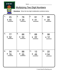 Multiplication Worksheets - Have Fun TeachingTwo Digit Multiplication Worksheet 2