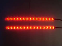 Twin 25 cm RED <b>LED car</b> interior <b>footwell lighting</b> kit, flexible and ...