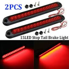 <b>2PCS</b> 25CM <b>15 LED</b> Red Sealed Trailer Truck RV Stop Tail Rear ...