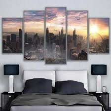 5 Panel Chicago Cityscape Modern Décor Canvas Wall Art <b>HD Print</b> ...