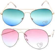 Aviator <b>Ocean Lens Sunglasses</b> Gold Metal Frame with Heart ...