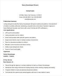 nanny housekeeper resume example housekeeper resumes