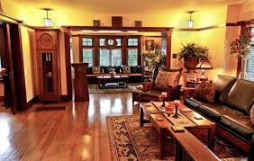 a representative american craftsman interior with period appropriate furnishings at the ernest and florence halstead house in los angeles california american craftsman style