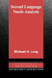 <b>Second Language</b> Needs Analysis edited by <b>Michael</b> H. <b>Long</b>