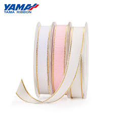 <b>YAMA</b> Gold Metallic <b>Edge Grosgrain Ribbon</b> For Packing 26621