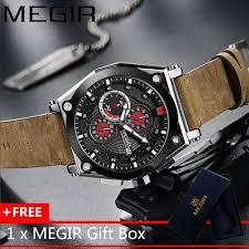 Megir MEGIR <b>Men</b> Watch Leather Strap <b>Man</b> Wristwatch Fashion ...