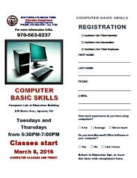 the southern ute drum computer basic skills classes computer classes