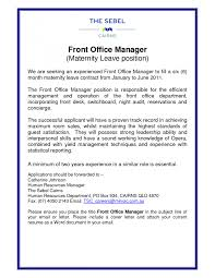 front office manager cover letters template front office manager cover letters