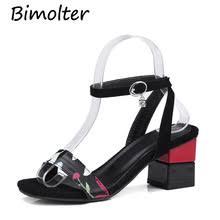 <b>Bimolter New</b> Summer Open Toe Thick Heel Women Floral Sandals ...
