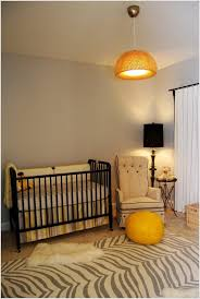 Lovely Baby Nursery Interior Design With Large Pendant Light And Black Classic Floor Lamp Ideas  A