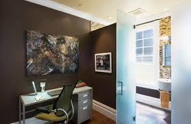 office than the bath we removed the existing vanity and replaced it with a small wall hung sink in between the windows a pie shaped shower was the bathroom office