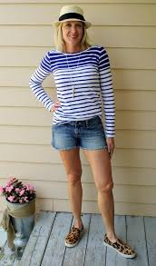 <b>Striped Shirt</b> with denim shorts and leopard slip on sneakers! A <b>nice</b> ...
