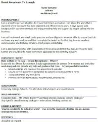 Dental Receptionist CV Example - icover.org.uk
