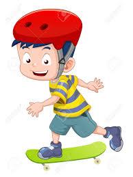 vector little boy skateboarding