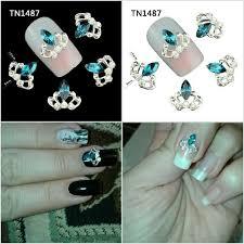 <b>5Pcs</b>/<b>Lot</b> Blue Crystal Crown Design Silver Alloy Manicure Tips ...
