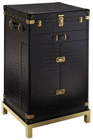 pullman style trunk bar with embossed crocodile leather polished brass stand features mahogany interior bar trunk furniture