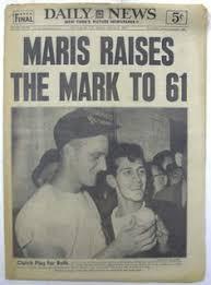 「1961, roger maris new york giants 61 home run」の画像検索結果