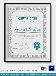 professional editable certificate of attendance template sample thogati