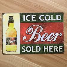home decor plate x: wall metal painting bar ktv pub ice cold beer retro decoration cafe iron plate vintage iron