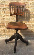banker office chair industrial swivel wood slat back antique vintage 1920 antique swivel office chair