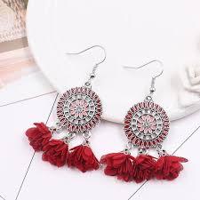 6 color Fashion red <b>flower</b> creative tassels <b>earrings</b> - rrdeye