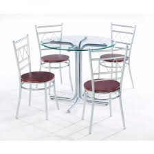 Inexpensive Dining Room Furniture Wonderful Round Glass Dining Table With Four Chrome Metal Base Be