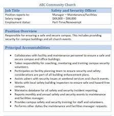 free downloadable sample church job descriptionschurch safety and security office job description