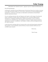 best general maintenance technician cover letter examples livecareer