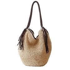 Beige <b>Women</b> Straw Shoulder Bag Summer <b>Beach</b> Bag <b>Tassels</b> ...
