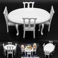 cheap wholesale 112 miniature white wooden dining table chair kitchen furniture dollhouse gift cheap wooden dollhouse furniture