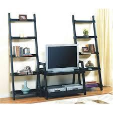 <b>Black</b> Wood Finish Entertainment Center <b>TV Stand Book Shelves</b> ...