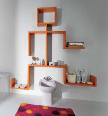 interior amazing orange modern wall shelves design ideas white exciting human doll design for trendy bathroom decor designs pictures trendy
