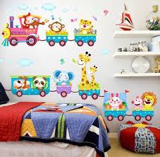 Cartoon <b>Animal Train Wall Decal</b> Stickers Vinyl Art Baby Nursery ...
