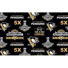 Pittsburgh Penguins National Championship Fleece Fabric Pattern ...